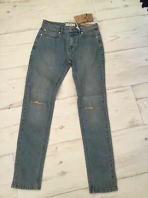 Next Mens /Boys Skinny Blue Denim Distressed Jeans Size 28R New With Tags