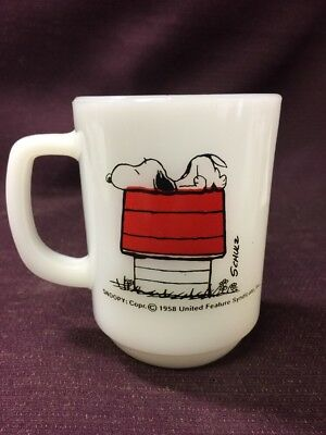 1958 Peanuts Snoopy I Think I'm Allergic To Mornings Coffee Cup Mug Fire King