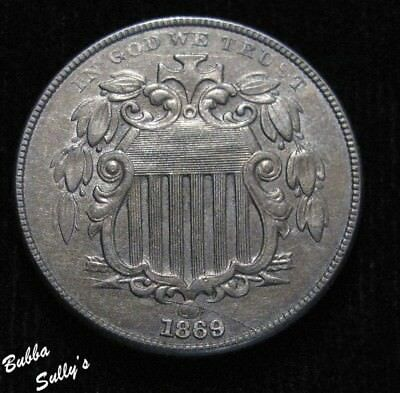 1869 Shield Nickel <> Re-Punched Date <> EXTREMELY FINE <> Die Crack Above Date