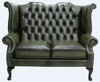 Chesterfield 2 Seater Queen Anne High Back Sofa Antique Olive Green