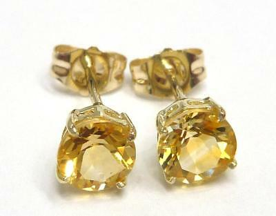 Syjewellery 9Ct Solid Yellow Gold Natural Citrine Stud Earrings   E924