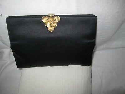 Vintage KORET Black Satin Clutch Handbag made USA