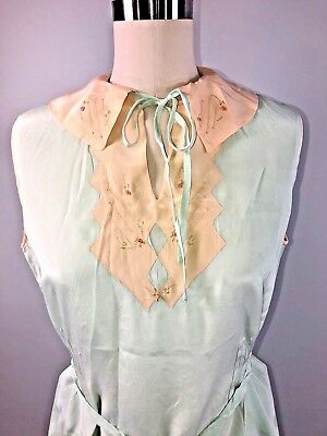 40s 1940s Vintage Silk Pajamas Minty green peach embroidered 2 pc top pants