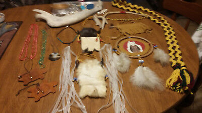 Huge Lot Necklaces Buffalo Jaw Bone Teeth Powwow Regalia Items Craft Items