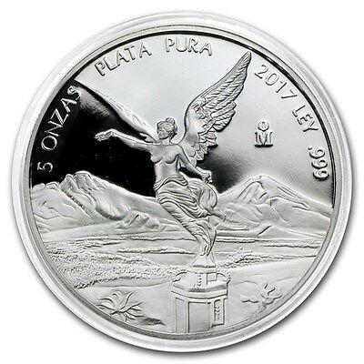 *SALE* PROOF LIBERTAD - MEXICO - 2017 5 oz Proof Silver Coin in Capsule