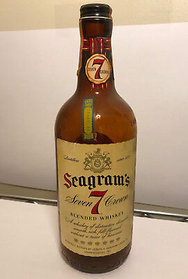 Vintage Seagram's 7 Whiskey Bottle (empty) Pennsylvania LCB Seal 1955 1956