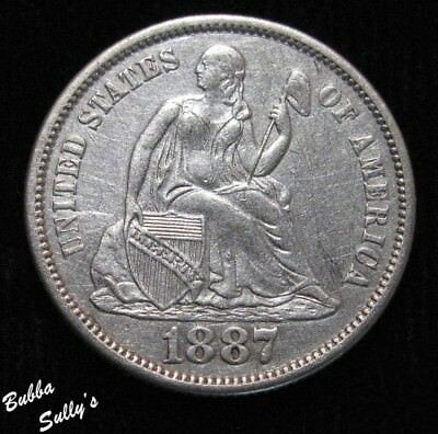 1887 S Seated Liberty Dime <> XF Details
