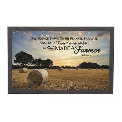 "SO GOD MADE A FARMER Paul Harvey Framed Wood Art Plaque 17.75"" x 11.25"""