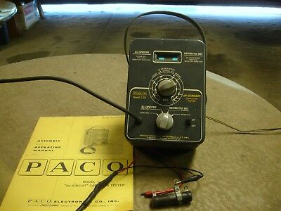 Vintage Paco Model C25 In-Circuit capacitor tester with Owners Manual