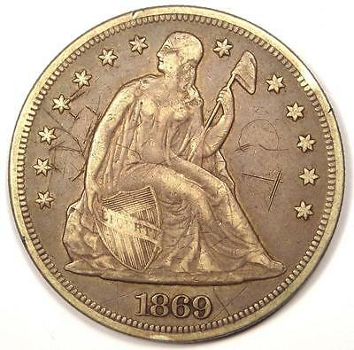 1869 Seated Liberty Silver Dollar $1 - VF Details - Rare Early Type Coin!