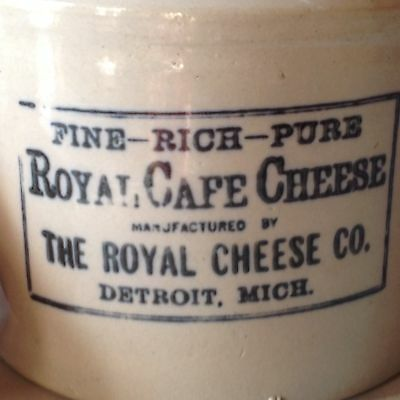Antique DETROIT CROCK Original Two Labels Advertising Stoneware Cheese Michigan