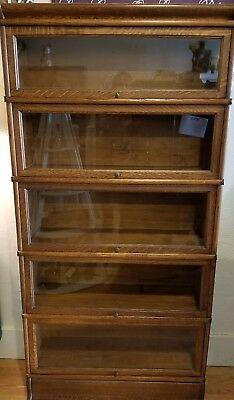 Antique Honey Oak Macey Barrister Book Case Library Lawyer Stack  Bookcase 91