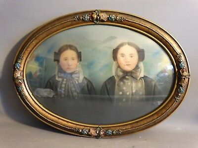 19thC Antique VICTORIAN SISTERS Convex LADY PORTRAIT Old PASTEL PAINTING FRAME