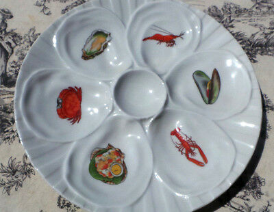 Oyster Plate Limoges Huitre Mussel Fish Plate Sea Creatures Vintage French 5462