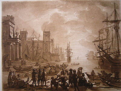 CLAUDE LORRAIN - Hafen. Aquatinta von G. H. Phillips.