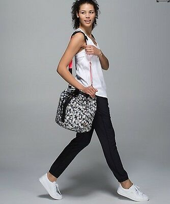 250abc5d2 Lululemon Sweat To Street Hobo Bucket Bag Mystic Jungle Butter Pink Black  RARE