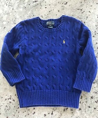 Polo Ralph Lauren Toddler Boys Blue Cable Knit Cotton Sweater Size: 3T