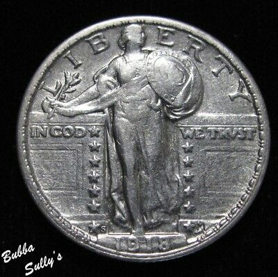 1918 S Standing Liberty Quarter <> EXTREMELY FINE