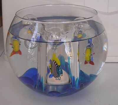 Elements Glass Fish Bowl Tealight Holder with floating fish