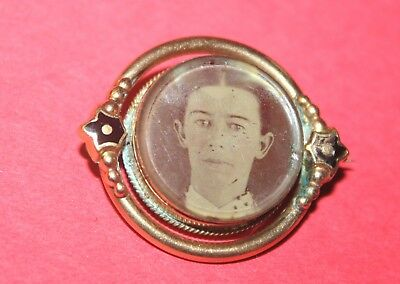Antique Victorian Mourning Brooch ~ Double-Sided ~ Gold Filled! Nr!