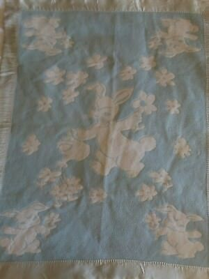 Vintage 50's Cotton Felt Bunny Blue Baby Blanket Satin Binding Reversible