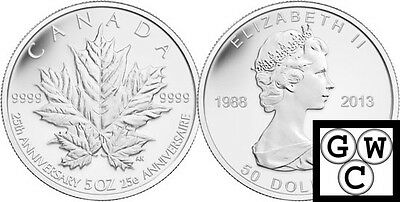 2013 5oz. Prf $50 25th Ann of the Silver Maple Leaf Silver Coin 9999(13143)OOAK