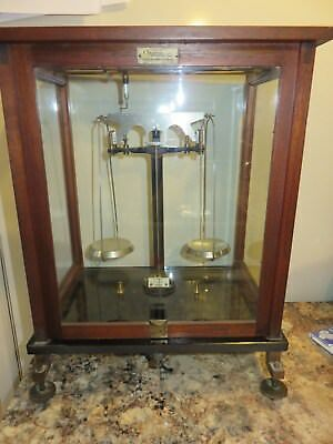Antique F Sartorius Gottingen Apothecary Wood & Glass Case Balance Scale Germany