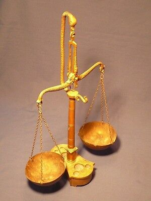 Vintage Brass Balance Scales with Fish motif, Portugal