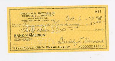 DOROTHY LAMOUR Autographed Check - Road to Morocco, Bali, Etc - Married Name