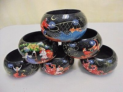 6pc Vintage Russian Fairy Tale Hand Painted Wood Lacquer Ware Napkin Rings