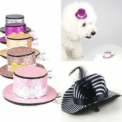 Dog Hair Clips Small Top Hat Hairpin Shiny Pet Puppy Cat Headwear Accessories