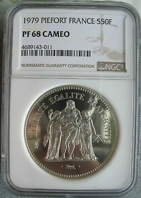 1979 PIEFORT France Silver 50 Francs NGC PF-68 Cameo PIEFORT
