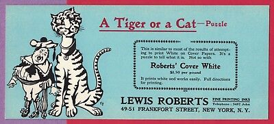 Vtg Blotter Lewis Roberts Fine Printing Inks New York ~ A Tiger Or A Cat Puzzle