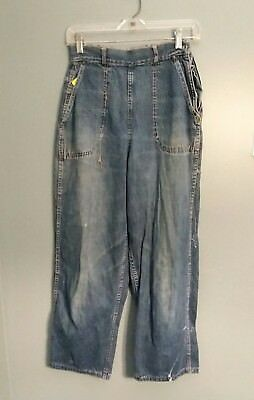 VINTAGE 50s BLUE DENIM SIDE ZIPPER JEANS SANFORIZED As Is Distressed Womens Rock