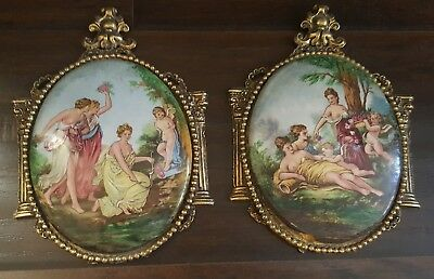 Pair Of Antique Victorian Hand Painted Porcelain Medallions Plaques Brass Frames