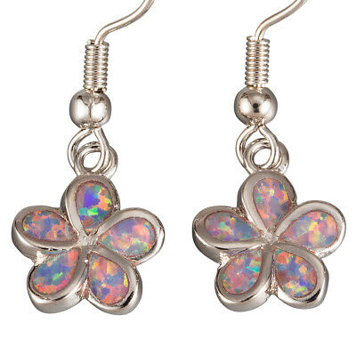 Plumeria Lavender Purple Fire Opal Inlay Silver Jewelry Dangle Drop Earrings