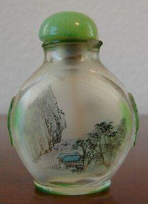 Vintage Asian Chinese reverse hand painted glass snuff bottle with lid and spoon