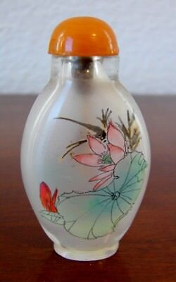 Vintage Chinese reverse hand painted glass snuff bottle with lid and spoon