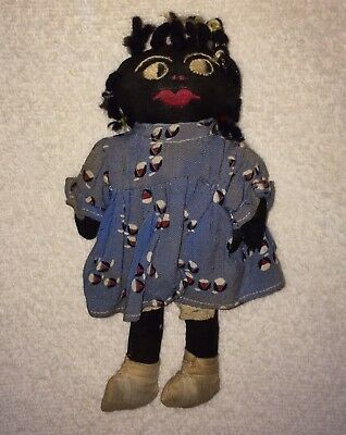 "ANTIQUE Black Cloth Rag DOLL Americana Primitive FOLK 8"" African American"