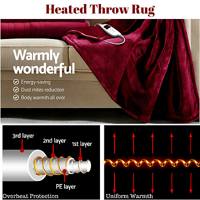 Electric Heated Blanket Throw Rug Washable Plush Fleece Snuggle Winter Bed NEW