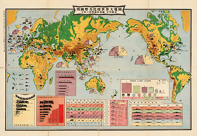 """1933 LARGE 23""""x33"""" Japanese Comparison World Map of Nations Power Military Print"""