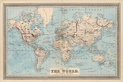 1876  Map Of The World on Mercator's Projection History Wall Art Decor Poster