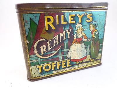 Antique Riley's Creamy Toffee Halifax England Advertising Tin Can Box Candy Vtg
