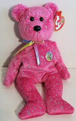 """TY Beanie Babies """"DECADE (pink)"""" 10th Anniversary Teddy Bear - MWMTs! GREAT GIFT"""