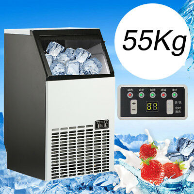 55kg/121Lbs Commercial Bar Ice Maker Cube Machine Stainless Steel 200W 220V 50Hz