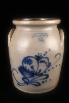 J & E NORTON - 1 1/2 Gal. Cobalt-Decorated Stoneware Crock - 1850-58