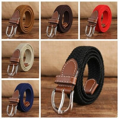 Children Classic Casual Belt Canvas Elastic Buckle Waist Strap Rugged Jean Belt