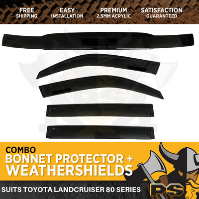 Bonnet Protector & Window Visors to suit Toyota Landcruiser 80 Series 90-98