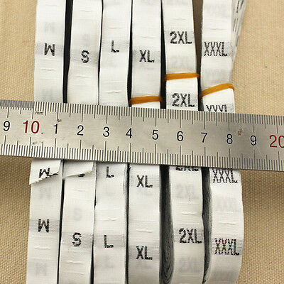 500 White Black Woven Clothing Garment Size Labels Tags Sweing S M L XL SEAU