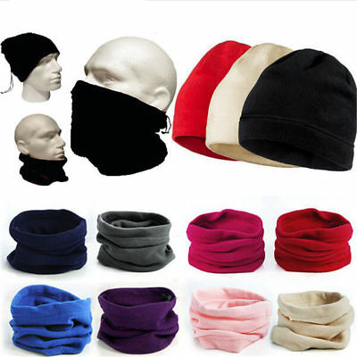 Women Men Thermal Fleece Beanie Hat Snood Scarf Neck Warmer Ski Balaclava